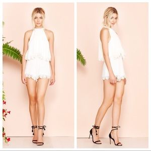 NWT Lovers + Friends Ivory Lace Romper